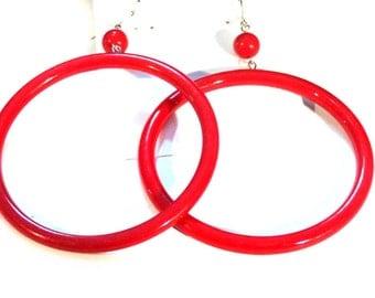 VINTAGE HOOP earrings Red Hoop Dangle Earrings 3 inch Hoop Earrings