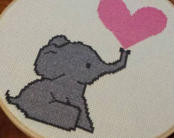 Elephant With Heart Embroidery Hoop Cross Stitch Art