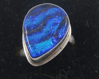 Tear Shaped Blue Dichroic Fused Glass Sterling Silver Ring- Size 10