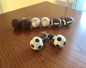 Sports knob, drawer pulls, pair of soccer, baseball, basketball, football, sports
