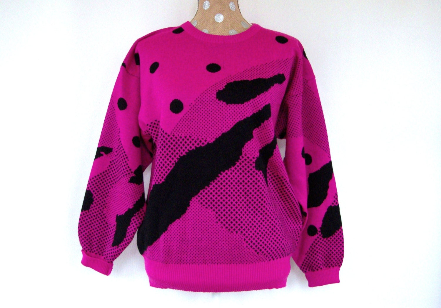 80s Pink Purple Sweater Abstract Design MEDIUM Polka Dots