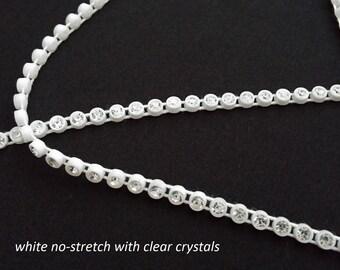 clear crystal/rhinestone trim on white settings--stretch and no-stretch