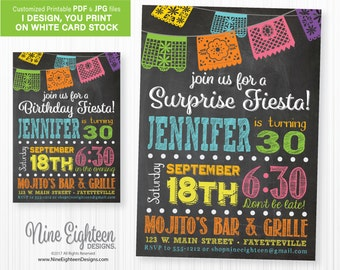 Surprise Fiesta Birthday INVITATION with colorful flags. Customzied PDF, digital file. I Design, you print.