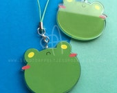 "Floris the Frog | 2"" Acrylic Clear Charm double sided"