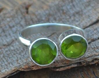 Peridot Gemstone Ring- 925 Sterling Silver Ring - Adjustable Ring Size 7 - August Birthstone Ring- August Birthstone Ring Jewelry - SLA6