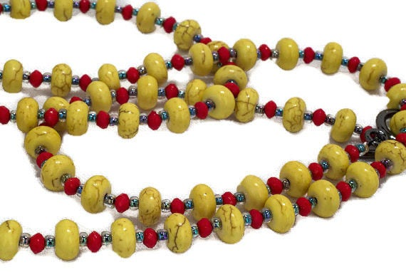 Yellow Turquoise Necklace and Bracelet  by GunaDesign