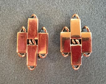 Nice Vintage Copper Renoir Clip Earrings.  Free shipping