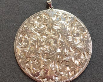 Gorgeous Large Hand Engraved Sterling Silver Medallion Pendant.  Free shipping
