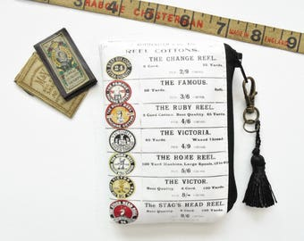 Waterproof wallet, cotton reels, sewing theme, business card holder ,credit card wallet, lipstick bag