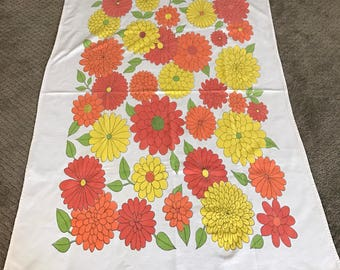 Vintage Bright Orange and Yellow Floral Tablecloth