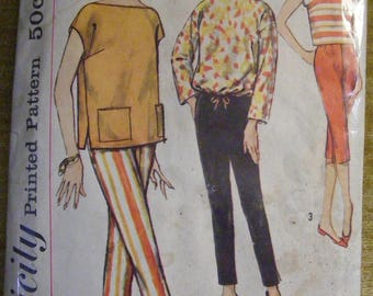 """1960's Vintage Misses' Blouse / Overblouse / Pants Simplicity Sewing Pattern 2814 Size 16 Bust 36"""""""