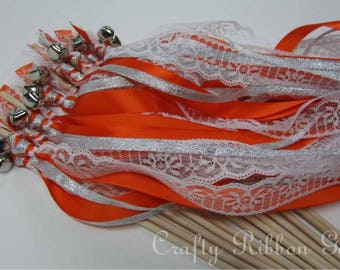 100 Wedding Wands Triple Lace Ribbon Bells Streamers