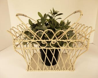 Vintage White Twisted Wire Basket.