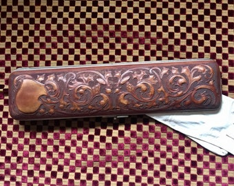 Reserved for Robert-Sale-Tooled Leather-Victorian Glove Box
