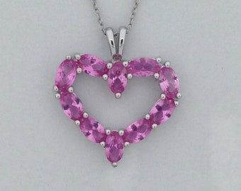 Created Pink Sapphire Heart Pendant 925 Sterling Silver