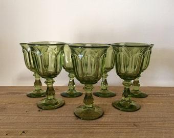 Set of 7 Vintage Imperial Glass Old Williamsburg Verde Wine Glasses Goblets