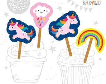 8 X SAFARI UNICORN Rainbow Cloud Birthday Party Cupcake Straw Flag Toppers