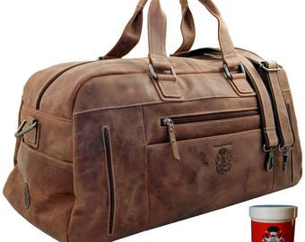 Travel bag GAUGUIN made of brown ECO-leather