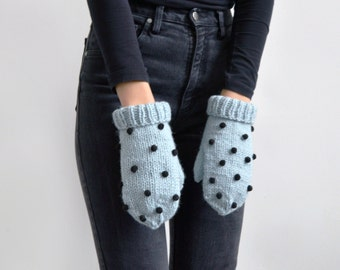 handmade cute baby blue wool mittens with black pompom decoration/ holiday gift/ womans gloves/ cute girls mittens
