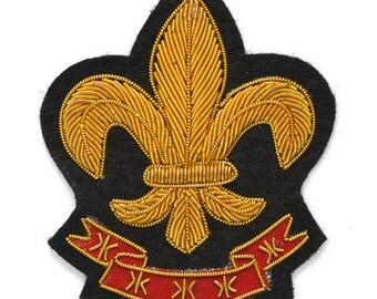 "Fleur-De-Lis Bullion Wire Embroidered Badges, Sew-on Crest Applique Patch by 1 pc, 3""x2-3/4"", OSB-25243"