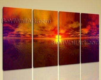 Extra Large Seascape Painting Sunset Wall Decor For Bedroom Giclee Print Canvas, Oversized Sunset Wall Art, Living Room, Falu Red