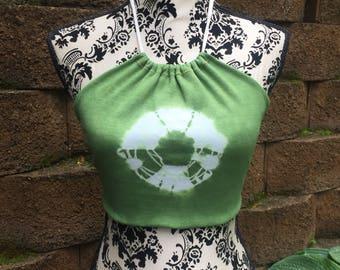 Organic cotton rib knit & Hemp reversible halter top - size M
