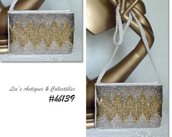 Silver and Gold Color Beaded Handbag Evening Bag at Lin's Antiques and Collectibles (Inventory #HB139)