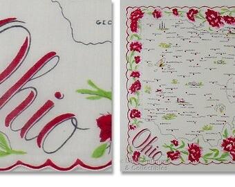 Vintage State Souvenir Handkerchief for Ohio (Inventory #M4539)