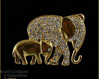 Eisenberg Ice Gold Tone Mama Elephant with Her Baby Elephant Pin  (Inventory #J954)