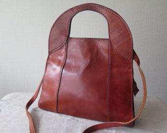 Vintage Genuine Leather Handbag with Shoulder Strap Retro Brown Leather Handbag @207