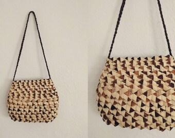 Folded Bamboo Purse. Bamboo Purse. Vintage Purse.