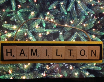 Hamilton Tiger Cats CFL Scrabble Tiles Christmas Ornament Holiday Football