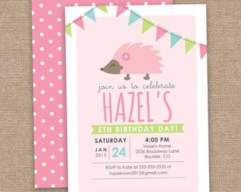 5th Hedgehog Girl Birthday Invitation, 1st Birthday, Woodland Toadstool, Forest Animals, DIY Printable, Any Age