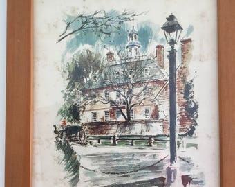 John Haymson Litho print of the Governors Palace in Williamsburg Virginia