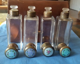 Antique Brass Guilloche Enamel Glass Perfume Bottles with Traveling Leather Case
