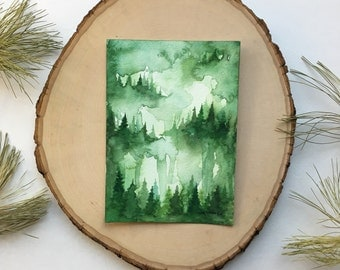 Green Forest - Original Watercolor Painting