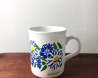 Vintage Marimekko pattern mug, 1980s, Made by Staffordshire Potteries in England.