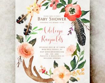 Boho Baby shower invitation girl printable - baby shower invitation girl, unique baby shower invitations, baby girl shower invitation