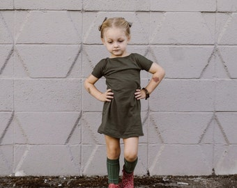 Baby Dresses, Girls Dresses, Kids Dresses, Toddler Dresses, Casual Dress, Baby Dress, Toddler Dress, Solid Color Dresses, Olive Green Dress