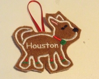 Chihuahua Personalized Felt Gingerbread or Angel Ornament