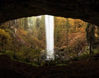 Waterfall Photograph, Landscape Photography, Panorama, Pacific Northwest, Fine Art Photography, Wall Art, Silver Falls, Eye, Oregon, Decor