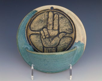 Handmade Pottery Green and Blue Holy Water Font: Hand of God Raised In Blessing