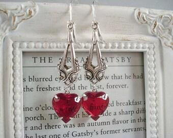 Red Rhinestone Silver Heart Earrings