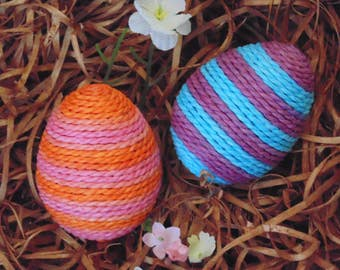 Decorated Easter Eggs, SET OF TWO, Pink, Orange, Purple, Blue, Paper Wrapped Easter Eggs, Easter Basket Fillers, Easter Decor, Spring Decor