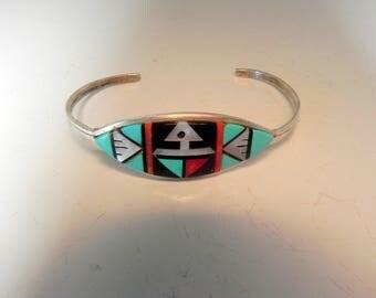 Zuni inlay sterling silver bracelet by Marleen Shikya