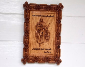 The Lord is My Shepherd Wooded 3D Wall Hanging ~ Psalm 23 - Bible Verse Wall Hangings
