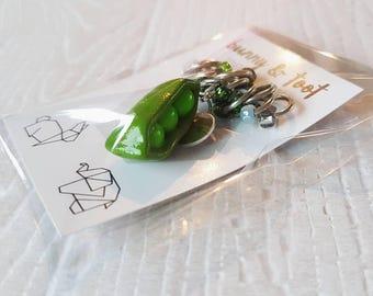Pea in a Pod Charm & Stitch Marker Set