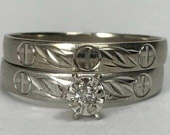 Vintage Diamond Engagement Ring. Gold Wedding Band. Religious Wedding Ring Set. 10K Gold. Bridal Set. Unique Engagement Ring. Estate Jewelry