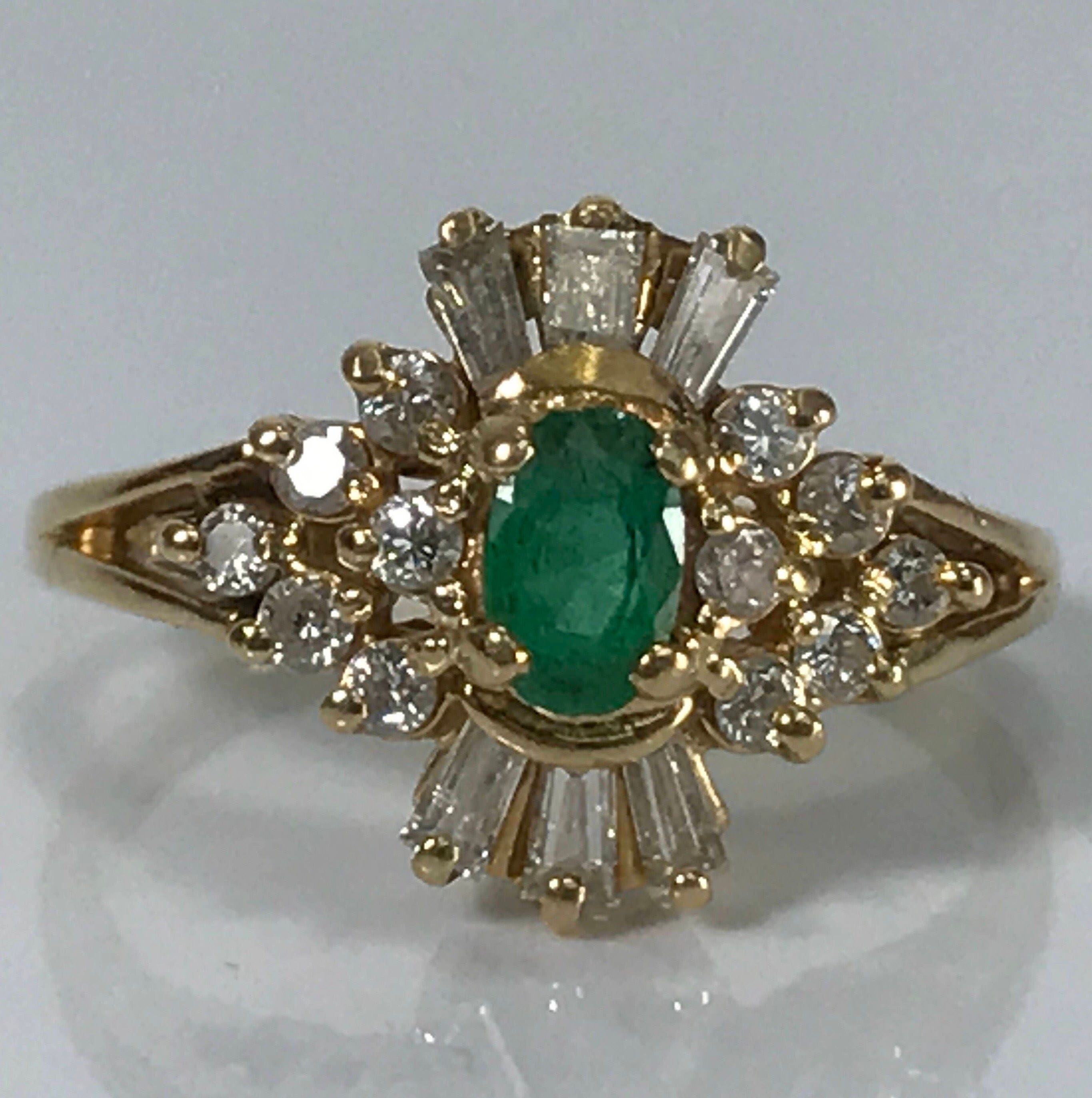 antique emerald ring halo 14k yellow gold