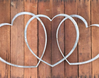 SALE Heart Trio | Rustic Wedding Decor | Wine Love | Country Cottage or Farmhouse Style | Handmade From Recycled Wine Barrel Metal Hoop